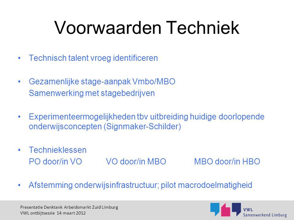 Voorwaarden Techniek Technisch talent vroeg identificeren Gezamenlijke stage-aanpak Vmbo/MBO Samenwerking met stagebedrijven Experimenteermogelijkhede