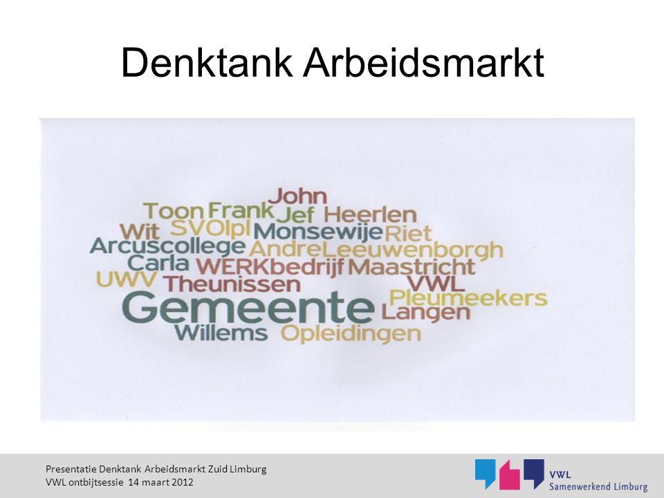 Ontwikkelgroep HO NWW 45+ Doelstelling: Gebruikmaken van het talent van hoger opgeleide niet werkende werkzoekenden van 45 jaar en ouder Standcijfer eind 2011: 1061 personen in Zuid Limburg Projectvoorstel voor concrete aanpak ihkv Motie 50+ (PS) Alternatieve definitie werk Social return voor hoger opgeleiden Mogelijke Techniekklas (ism LtO) Mogelijk Zorgopleiding (ism Zorgacademie) Presentatie Denktank Arbeidsmarkt Zuid Limburg VWL ontbijtsessie 14 maart 2012