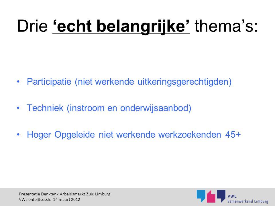 Drie 'echt belangrijke' thema's: Participatie (niet werkende uitkeringsgerechtigden) Techniek (instroom en onderwijsaanbod) Hoger Opgeleide niet werke