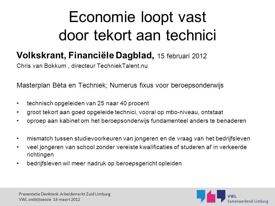 Economie loopt vast door tekort aan technici Volkskrant, Financiële Dagblad, 15 februari 2012 Chris van Bokkum, directeur TechniekTalent.nu Masterplan