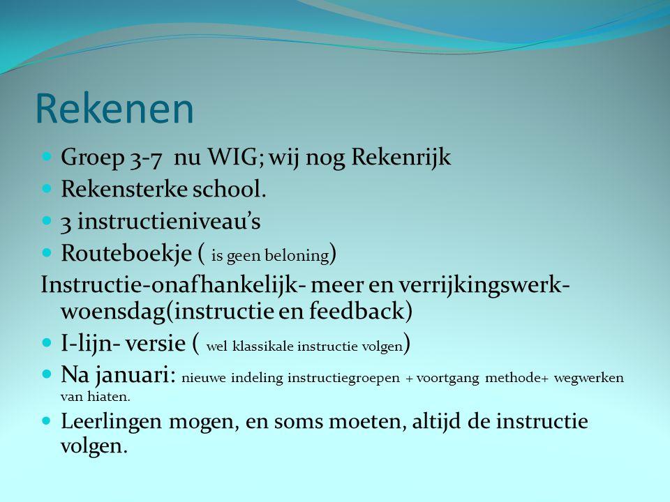Rekenen Groep 3-7 nu WIG; wij nog Rekenrijk Rekensterke school. 3 instructieniveau's Routeboekje ( is geen beloning ) Instructie-onafhankelijk- meer e