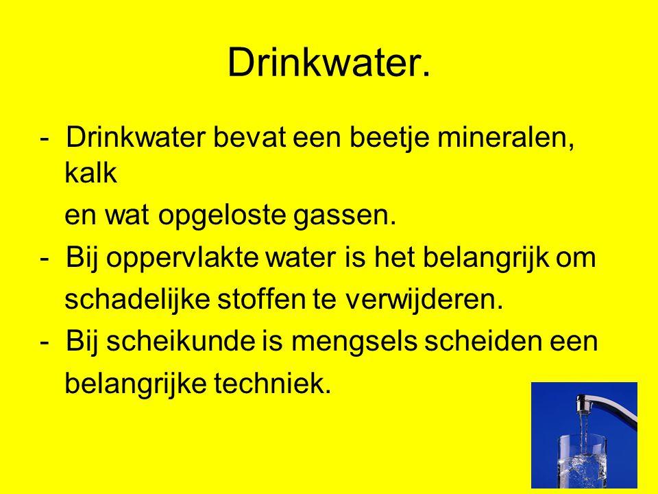 Drinkwater. - Drinkwater bevat een beetje mineralen, kalk en wat opgeloste gassen. - Bij oppervlakte water is het belangrijk om schadelijke stoffen te