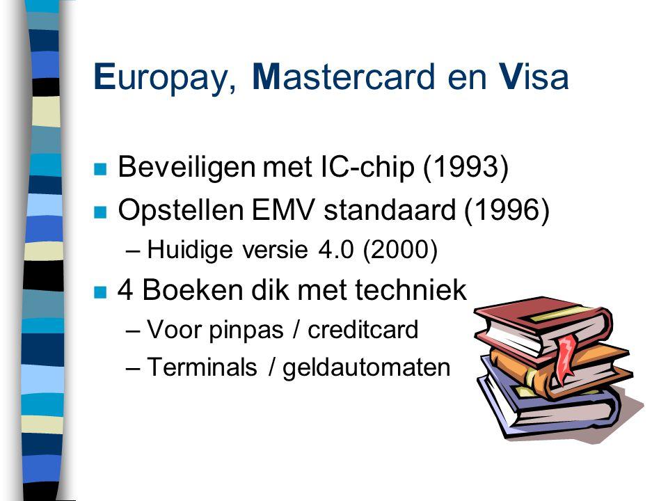 Europay, Mastercard en Visa n Beveiligen met IC-chip (1993) n Opstellen EMV standaard (1996) –Huidige versie 4.0 (2000) n 4 Boeken dik met techniek –Voor pinpas / creditcard –Terminals / geldautomaten