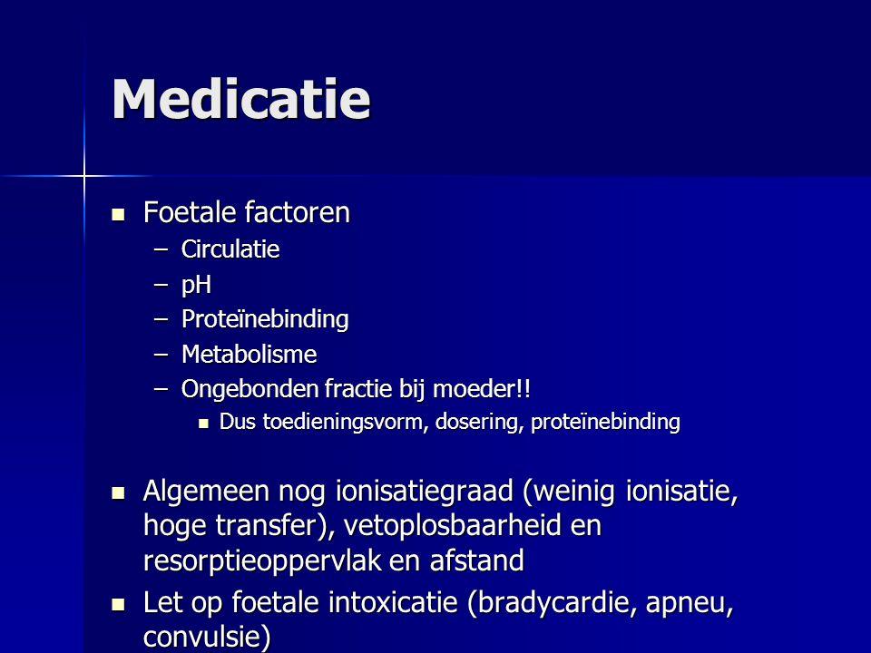 Medicatie Foetale factoren Foetale factoren –Circulatie –pH –Proteïnebinding –Metabolisme –Ongebonden fractie bij moeder!! Dus toedieningsvorm, doseri