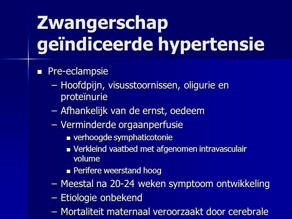 Zwangerschap geïndiceerde hypertensie Pre-eclampsie Pre-eclampsie –Hoofdpijn, visusstoornissen, oligurie en proteïnurie –Afhankelijk van de ernst, oed