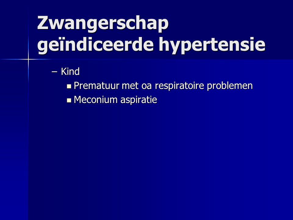 Zwangerschap geïndiceerde hypertensie –Kind Prematuur met oa respiratoire problemen Prematuur met oa respiratoire problemen Meconium aspiratie Meconiu