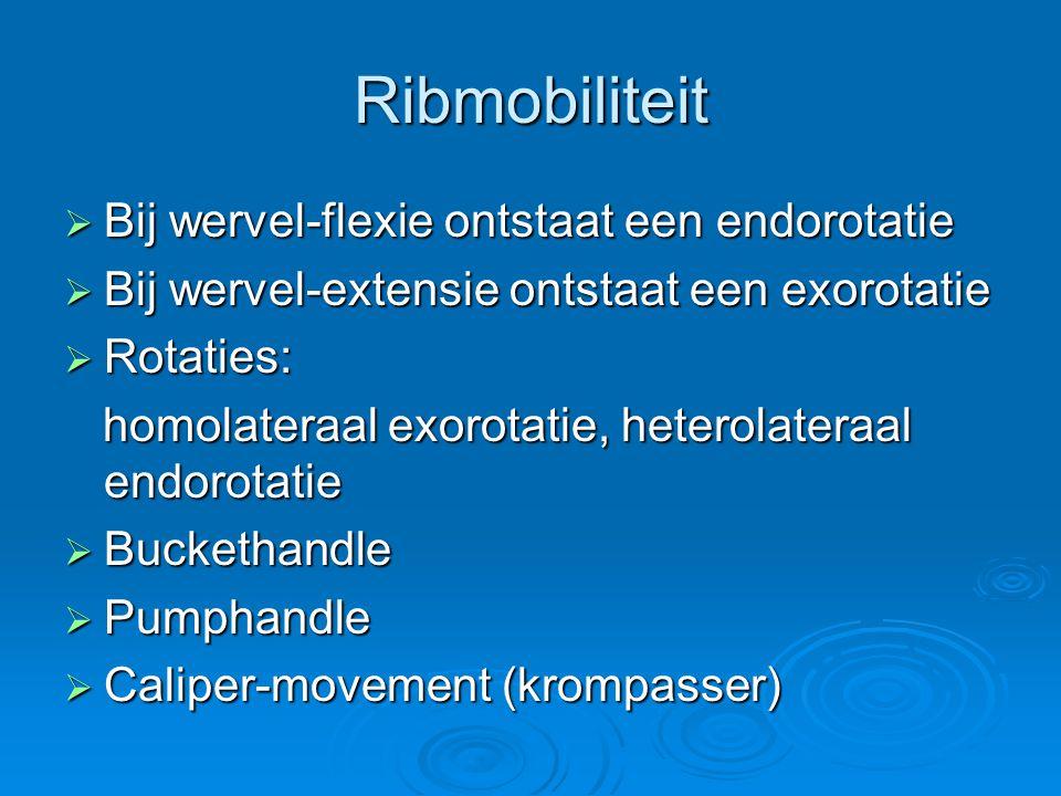 Ribmobiliteit  Bij wervel-flexie ontstaat een endorotatie  Bij wervel-extensie ontstaat een exorotatie  Rotaties: homolateraal exorotatie, heterola