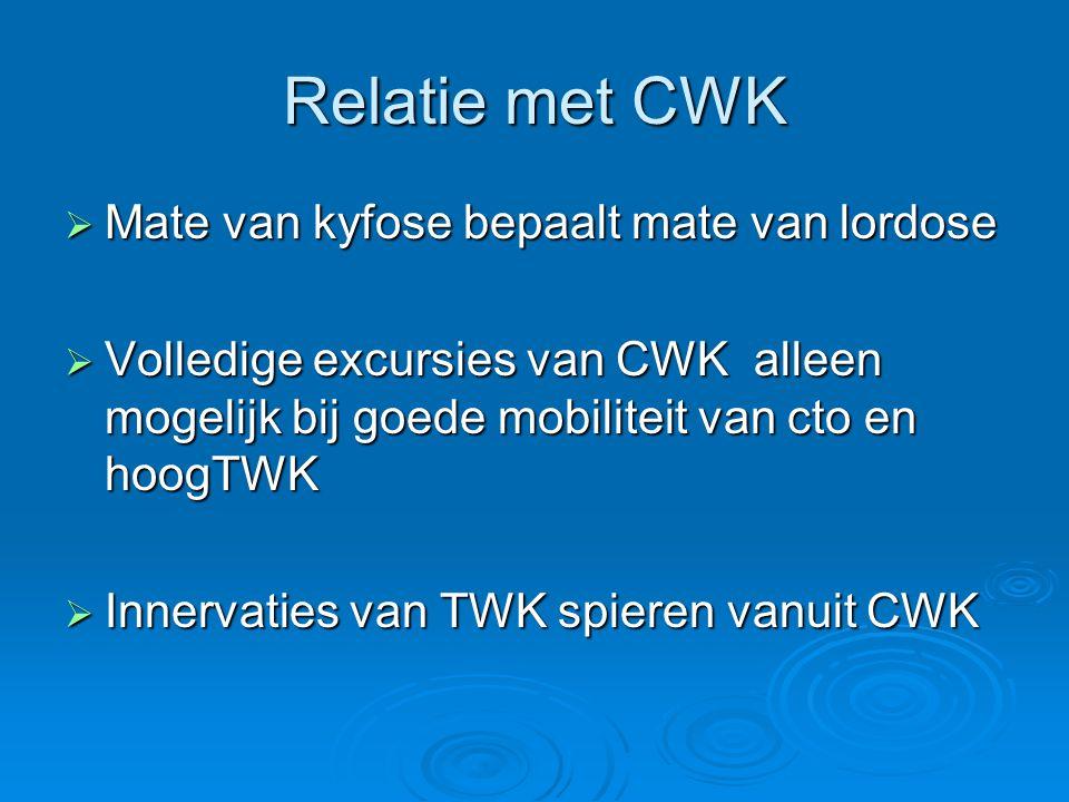 Relatie met CWK  Mate van kyfose bepaalt mate van lordose  Volledige excursies van CWK alleen mogelijk bij goede mobiliteit van cto en hoogTWK  Inn