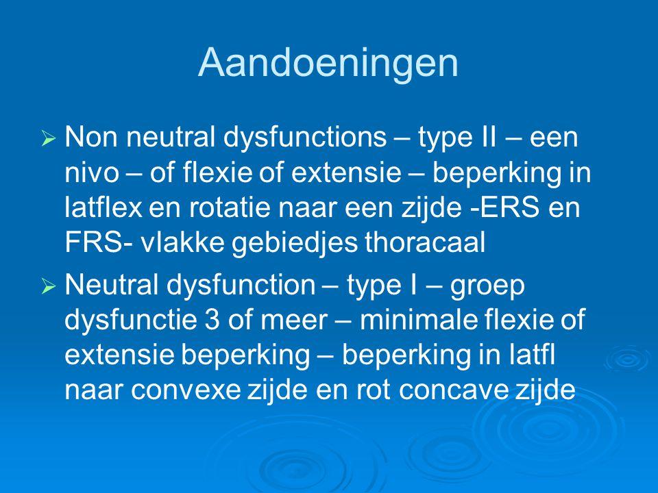 Aandoeningen   Non neutral dysfunctions – type II – een nivo – of flexie of extensie – beperking in latflex en rotatie naar een zijde -ERS en FRS- v