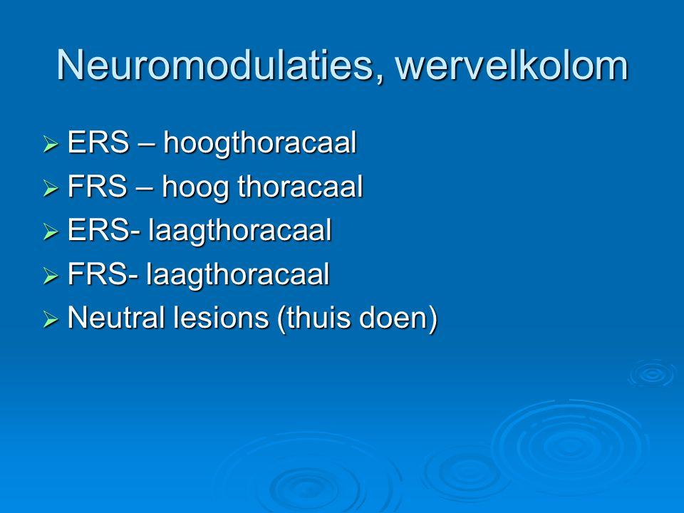 Neuromodulaties, wervelkolom  ERS – hoogthoracaal  FRS – hoog thoracaal  ERS- laagthoracaal  FRS- laagthoracaal  Neutral lesions (thuis doen)