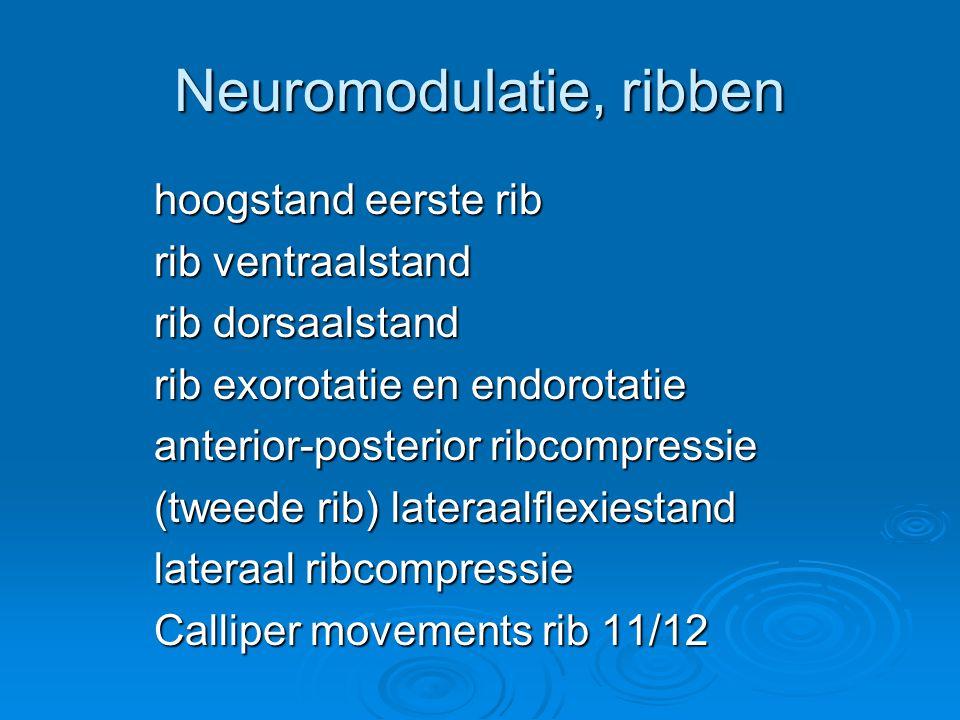 Neuromodulatie, ribben hoogstand eerste rib rib ventraalstand rib dorsaalstand rib exorotatie en endorotatie anterior-posterior ribcompressie (tweede