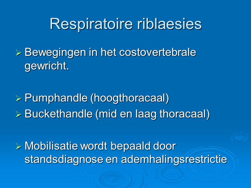 Respiratoire riblaesies  Bewegingen in het costovertebrale gewricht.  Pumphandle (hoogthoracaal)  Buckethandle (mid en laag thoracaal)  Mobilisati