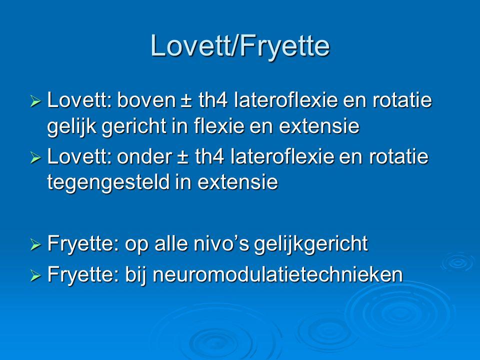 Lovett/Fryette  Lovett: boven ± th4 lateroflexie en rotatie gelijk gericht in flexie en extensie  Lovett: onder ± th4 lateroflexie en rotatie tegeng
