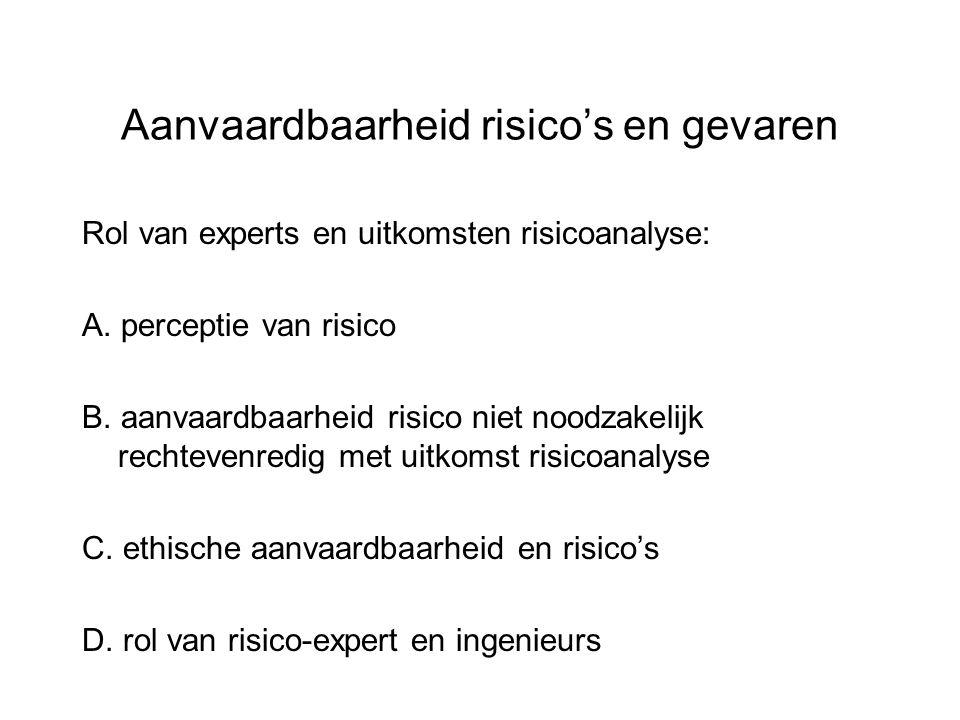 Aanvaardbaarheid risico's en gevaren Rol van experts en uitkomsten risicoanalyse: A. perceptie van risico B. aanvaardbaarheid risico niet noodzakelijk