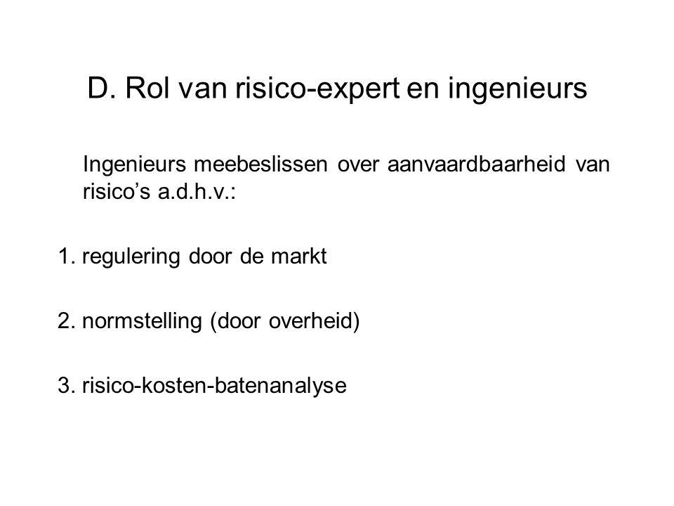 D. Rol van risico-expert en ingenieurs Ingenieurs meebeslissen over aanvaardbaarheid van risico's a.d.h.v.: 1. regulering door de markt 2. normstellin