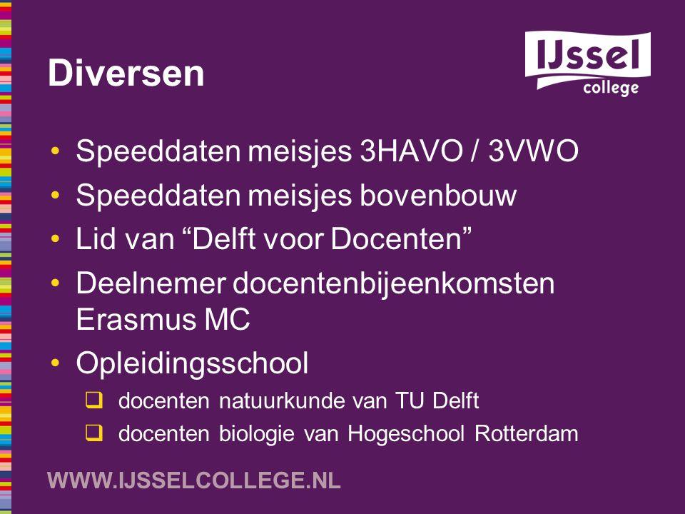 """WWW.IJSSELCOLLEGE.NL Diversen Speeddaten meisjes 3HAVO / 3VWO Speeddaten meisjes bovenbouw Lid van """"Delft voor Docenten"""" Deelnemer docentenbijeenkomst"""