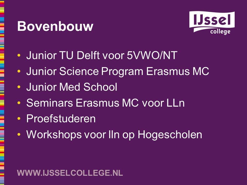 WWW.IJSSELCOLLEGE.NL Bovenbouw Junior TU Delft voor 5VWO/NT Junior Science Program Erasmus MC Junior Med School Seminars Erasmus MC voor LLn Proefstud