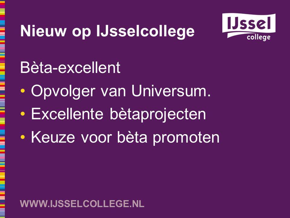 WWW.IJSSELCOLLEGE.NL Nieuw op IJsselcollege Bèta-excellent Opvolger van Universum. Excellente bètaprojecten Keuze voor bèta promoten