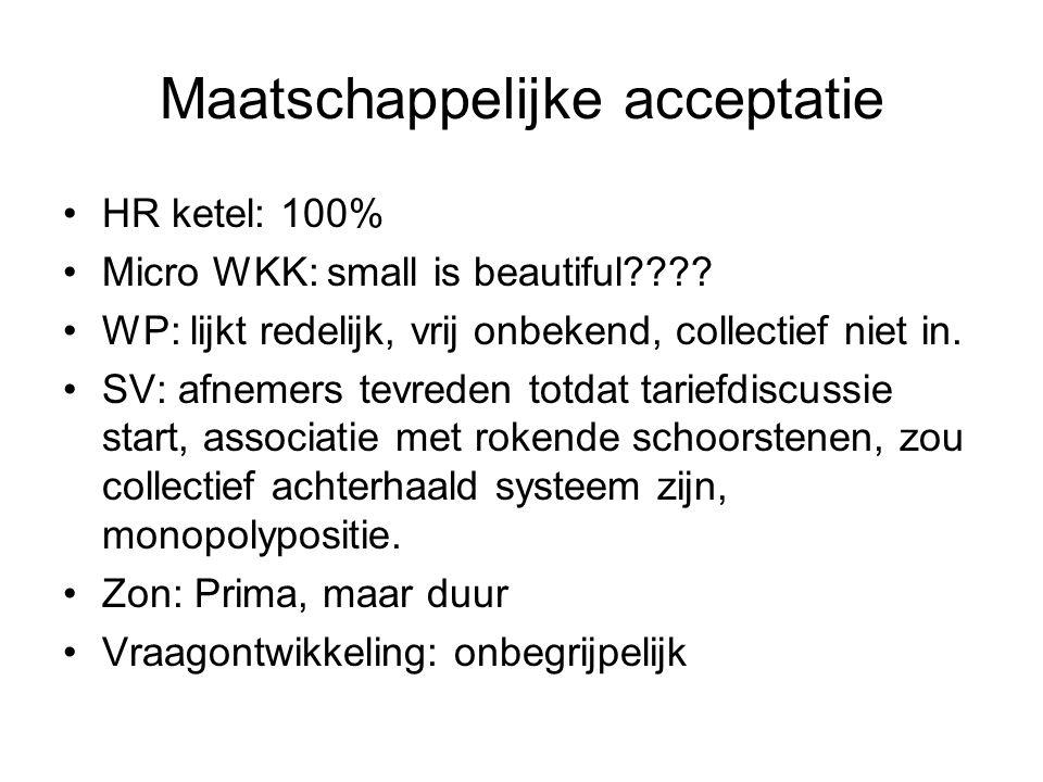 Maatschappelijke acceptatie HR ketel: 100% Micro WKK: small is beautiful???? WP: lijkt redelijk, vrij onbekend, collectief niet in. SV: afnemers tevre