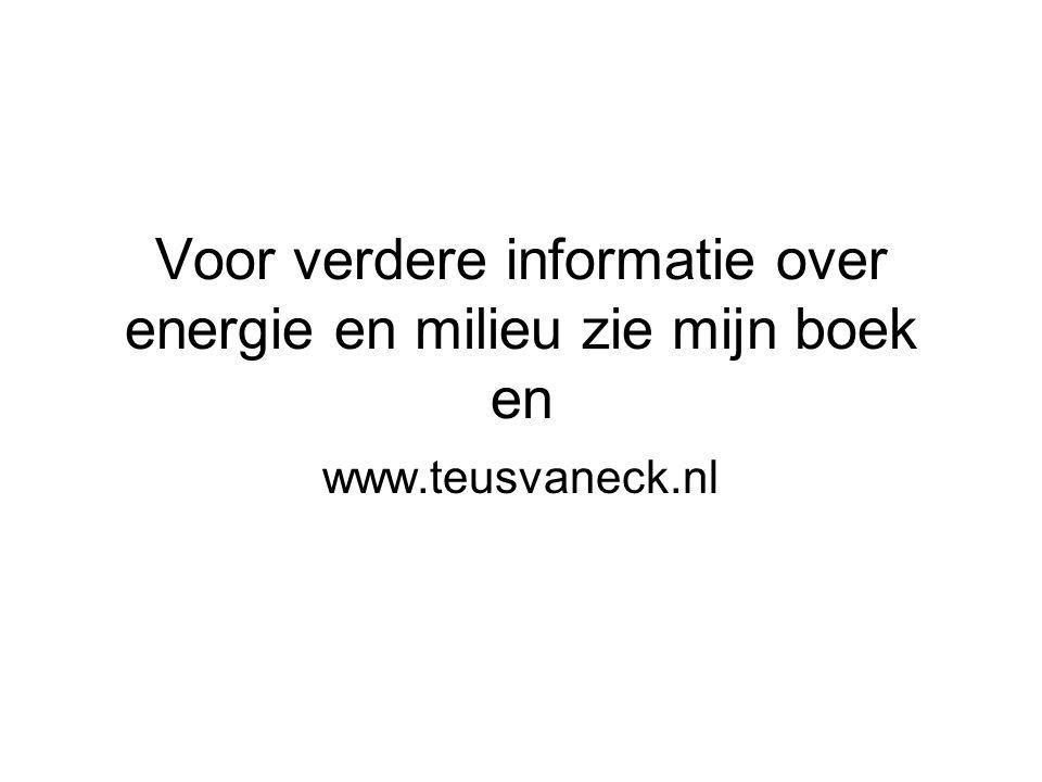 Voor verdere informatie over energie en milieu zie mijn boek en www.teusvaneck.nl