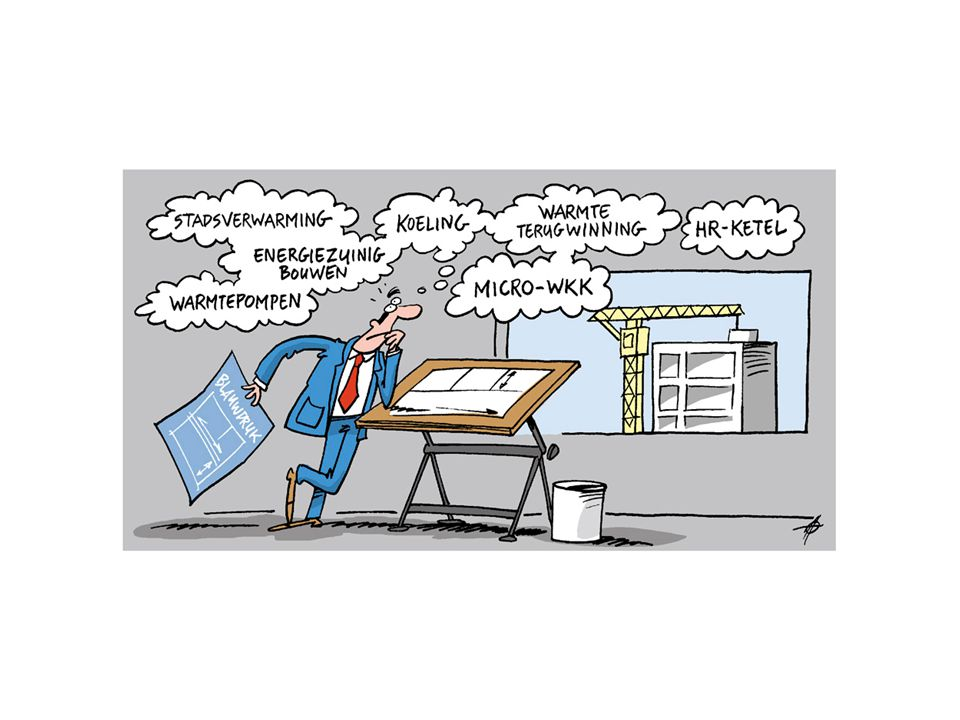 Alternatieven en criteria Alternatieven: HR-ketel, micro-WKK, warmtepompen, stadsverwarming, zon, koeling, isolatie, warmteterugwinning.