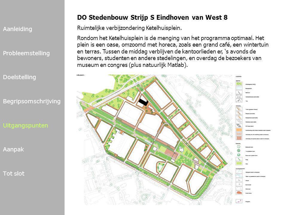 Aanleiding Probleemstelling Doelstelling Begripsomschrijving Uitgangspunten Aanpak Tot slot DO Stedenbouw Strijp S Eindhoven van West 8 Ruimtelijke verbijzondering Ketelhuisplein.