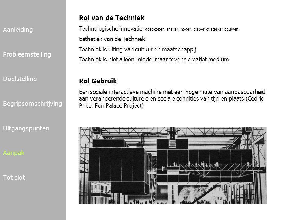 Aanleiding Probleemstelling Doelstelling Begripsomschrijving Uitgangspunten Aanpak Tot slot Rol van de Techniek Technologische innovatie (goedkoper, s