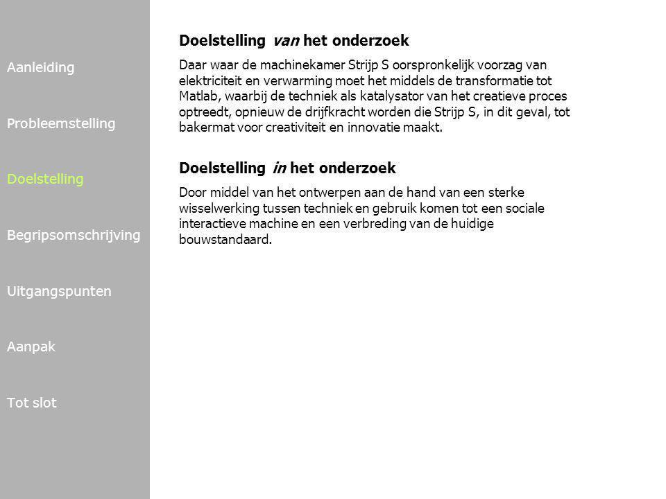 Aanleiding Probleemstelling Doelstelling Begripsomschrijving Uitgangspunten Aanpak Tot slot Matlab Eindhoven - initiatief van Philips Design, Design Academy, TU/e - informeren over (nieuwe) materialen en procestechnieken (geprikkeld worden, kennis opdoen, onderzoeken, experimenteren) Verzorgingsgebied - in 1e instantie gericht op Regio Zuid-Oost Nederland met Brainport Eindhoven als kern - internationaal d.m.v.