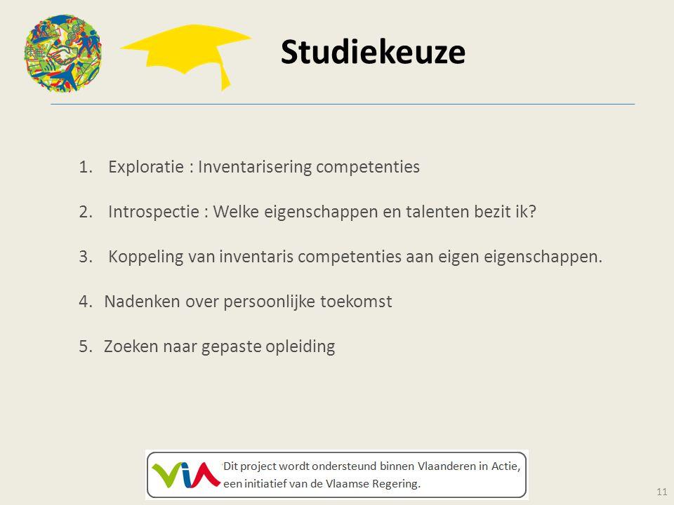 Studiekeuze 11 1. Exploratie : Inventarisering competenties 2. Introspectie : Welke eigenschappen en talenten bezit ik? 3. Koppeling van inventaris co