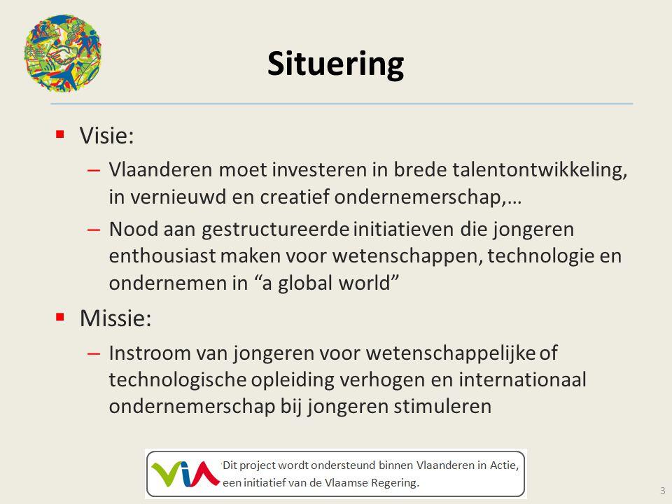Situering  Visie: – Vlaanderen moet investeren in brede talentontwikkeling, in vernieuwd en creatief ondernemerschap,… – Nood aan gestructureerde ini
