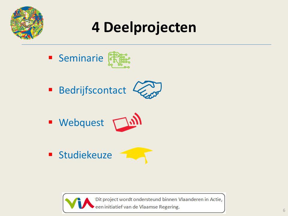 4 Deelprojecten  Seminarie  Bedrijfscontact  Webquest  Studiekeuze 6