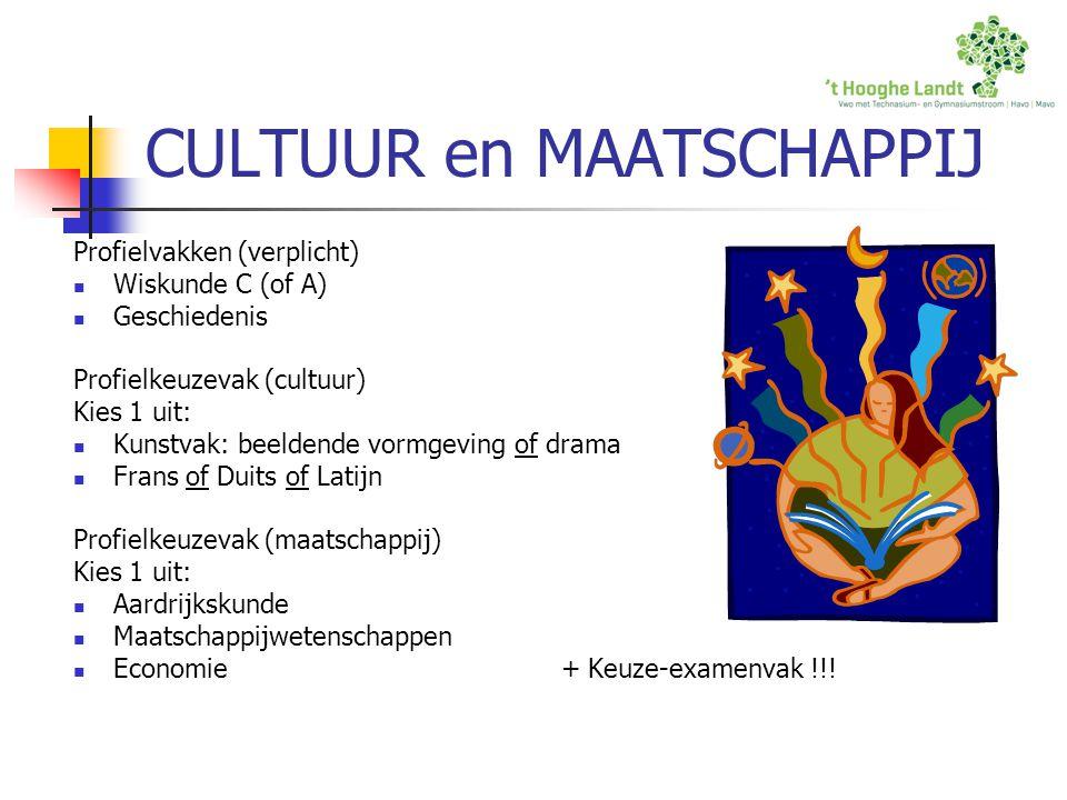 CULTUUR en MAATSCHAPPIJ Profielvakken (verplicht) Wiskunde C (of A) Geschiedenis Profielkeuzevak (cultuur) Kies 1 uit: Kunstvak: beeldende vormgeving