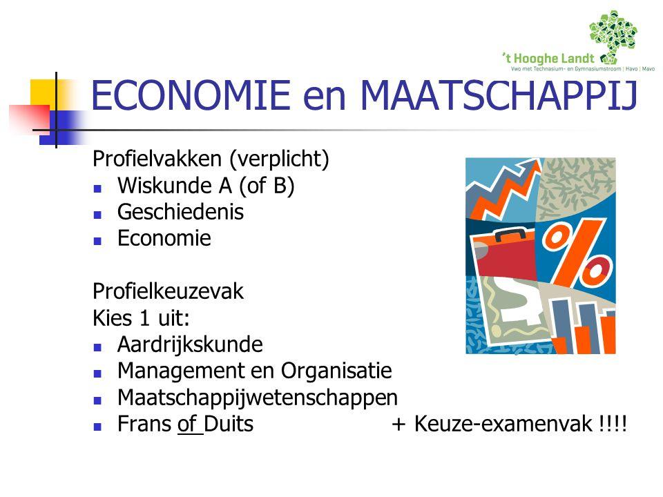 ECONOMIE en MAATSCHAPPIJ Profielvakken (verplicht) Wiskunde A (of B) Geschiedenis Economie Profielkeuzevak Kies 1 uit: Aardrijkskunde Management en Or