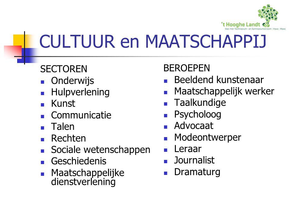 CULTUUR en MAATSCHAPPIJ SECTOREN Onderwijs Hulpverlening Kunst Communicatie Talen Rechten Sociale wetenschappen Geschiedenis Maatschappelijke dienstve