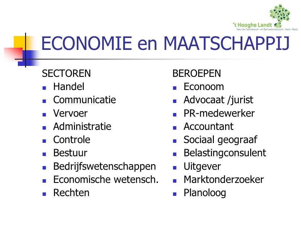ECONOMIE en MAATSCHAPPIJ SECTOREN Handel Communicatie Vervoer Administratie Controle Bestuur Bedrijfswetenschappen Economische wetensch. Rechten BEROE