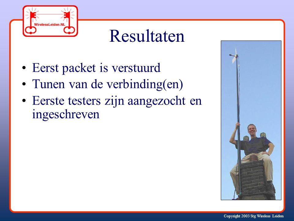 Copyright 2003 Stg Wireless Leiden Resultaten Eerst packet is verstuurd Tunen van de verbinding(en) Eerste testers zijn aangezocht en ingeschreven