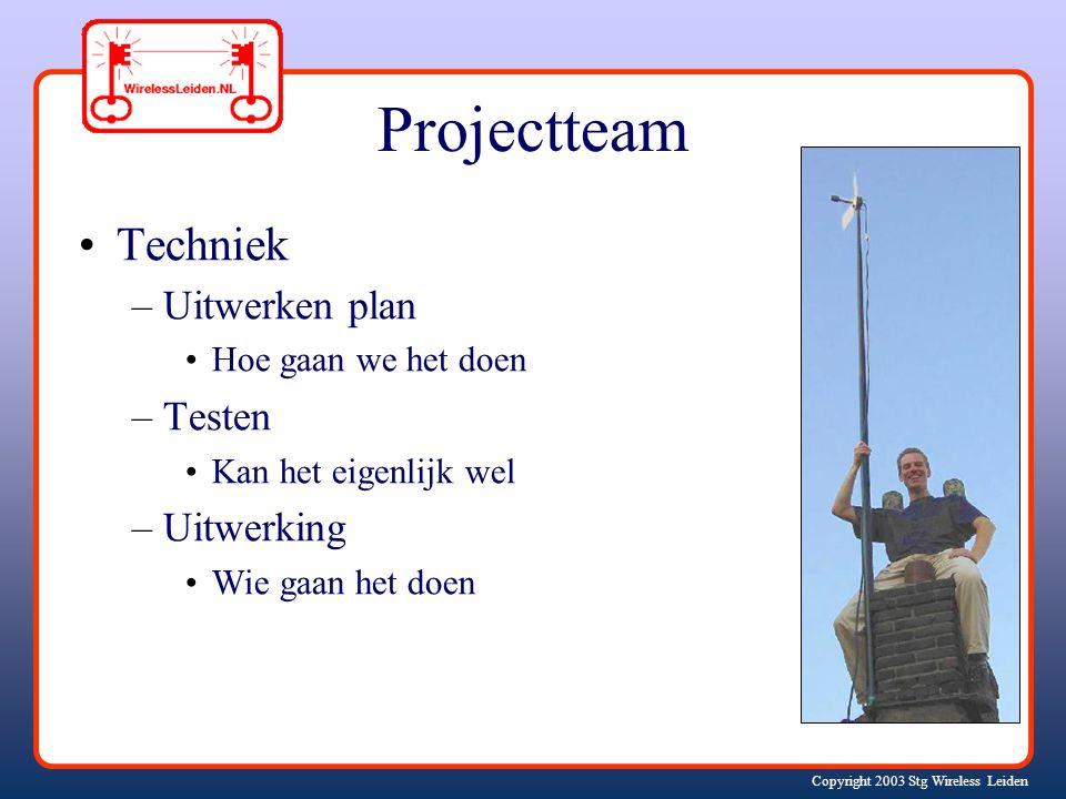 Copyright 2003 Stg Wireless Leiden Projectteam Techniek –Uitwerken plan Hoe gaan we het doen –Testen Kan het eigenlijk wel –Uitwerking Wie gaan het doen