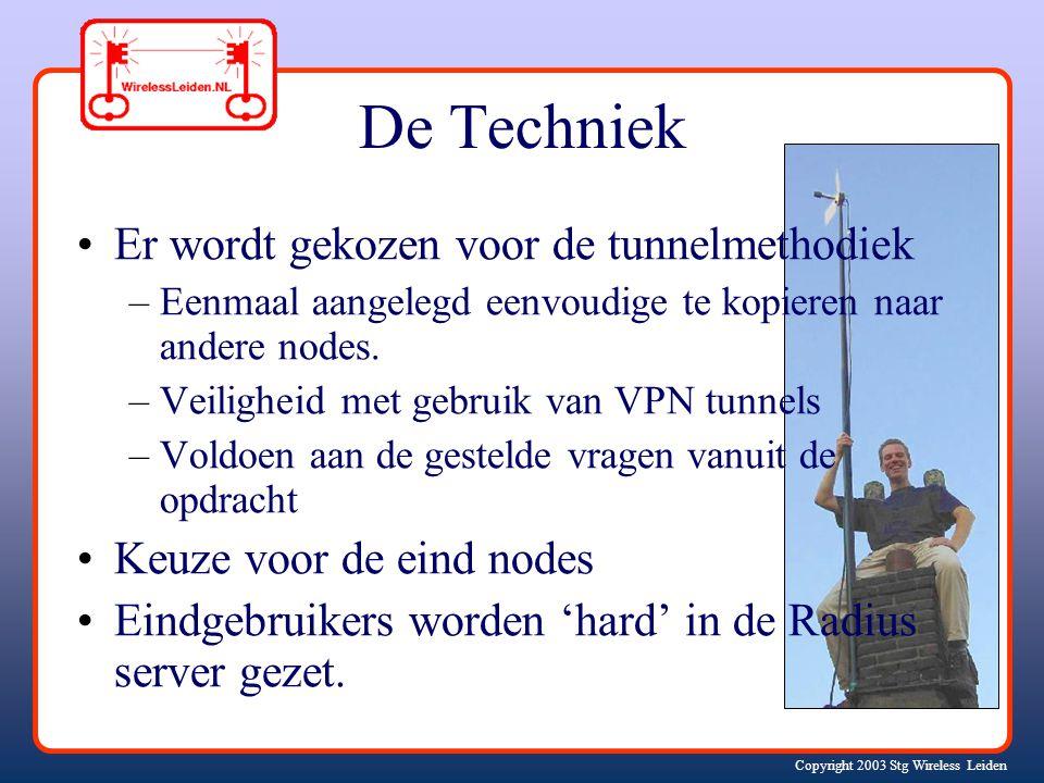 Copyright 2003 Stg Wireless Leiden De Techniek Er wordt gekozen voor de tunnelmethodiek –Eenmaal aangelegd eenvoudige te kopieren naar andere nodes.