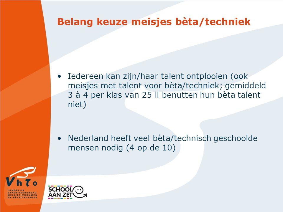 Belang keuze meisjes bèta/techniek Iedereen kan zijn/haar talent ontplooien (ook meisjes met talent voor bèta/techniek; gemiddeld 3 à 4 per klas van 25 ll benutten hun bèta talent niet) Nederland heeft veel bèta/technisch geschoolde mensen nodig (4 op de 10)