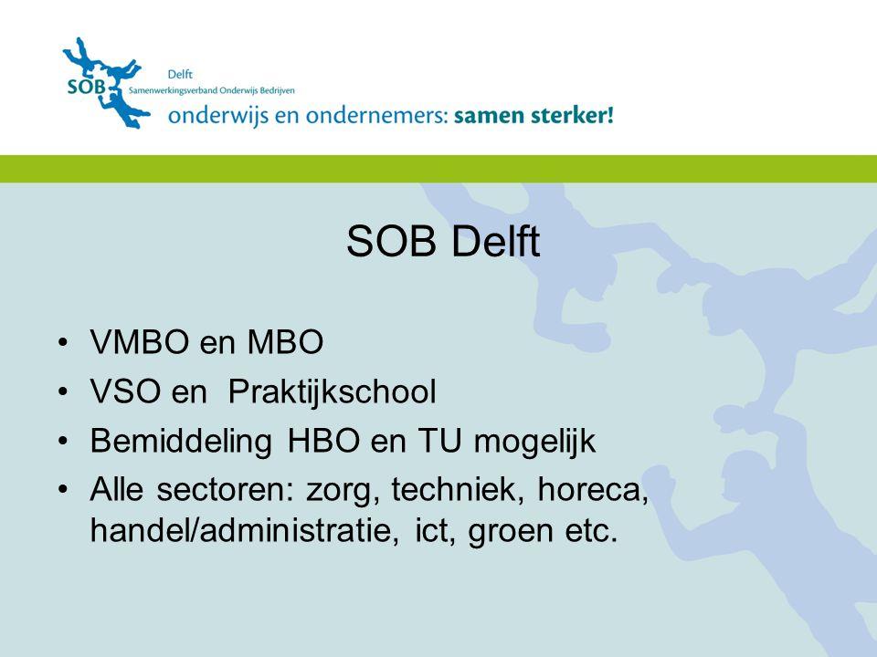 Vmbo en mbo VSO en Praktijkschool Bemiddeling HBO en TU mogelijk Alle sectoren: zorg, techniek, horeca, handel/administratie, ict, groen etc. VMBO en