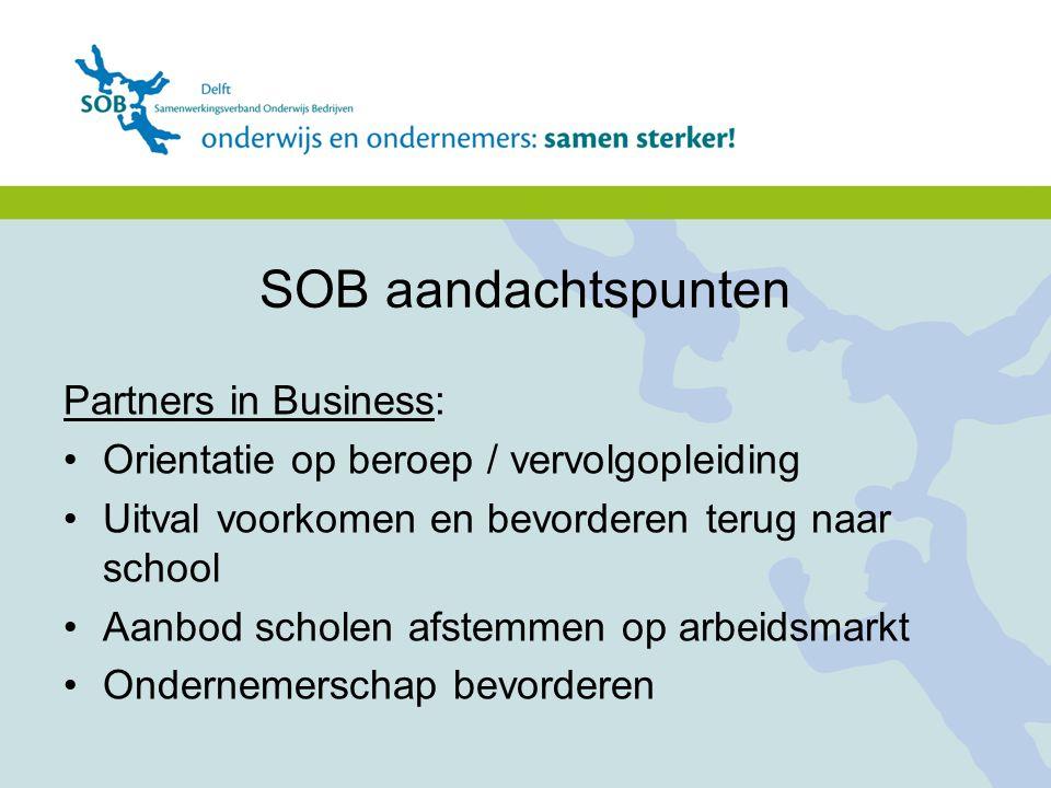 Partners in Business: Orientatie op beroep / vervolgopleiding Uitval voorkomen en bevorderen terug naar school Aanbod scholen afstemmen op arbeidsmark