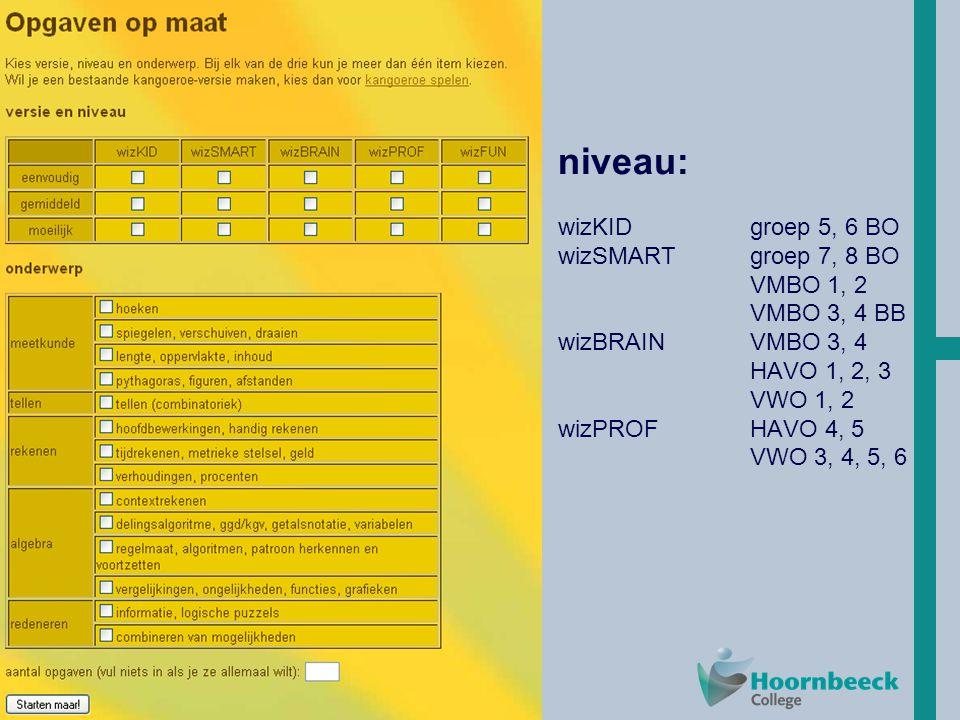 HoT niveau: wizKIDgroep 5, 6 BO wizSMARTgroep 7, 8 BO VMBO 1, 2 VMBO 3, 4 BB wizBRAINVMBO 3, 4 HAVO 1, 2, 3 VWO 1, 2 wizPROFHAVO 4, 5 VWO 3, 4, 5, 6