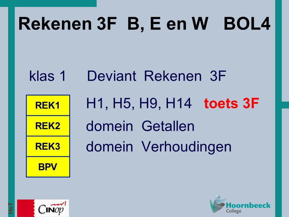 HoT Rekenen 3F B, E en W BOL4 klas 1 Deviant Rekenen 3F REK1 REK2 BPV REK3 H1, H5, H9, H14 toets 3F domein Getallen domein Verhoudingen