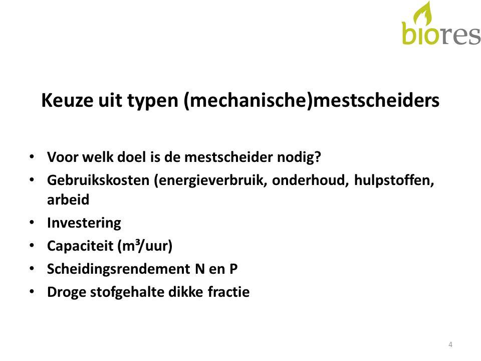 Keuze uit typen (mechanische)mestscheiders Voor welk doel is de mestscheider nodig? Gebruikskosten (energieverbruik, onderhoud, hulpstoffen, arbeid In