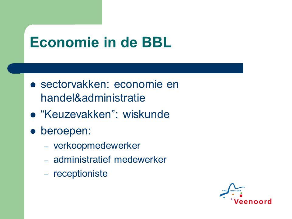 Economie in de BBL sectorvakken: economie en handel&administratie Keuzevakken : wiskunde beroepen: – verkoopmedewerker – administratief medewerker – receptioniste