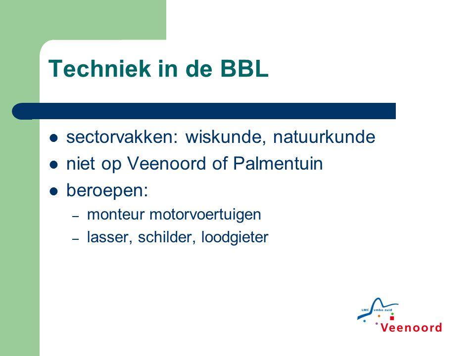 Techniek in de BBL sectorvakken: wiskunde, natuurkunde niet op Veenoord of Palmentuin beroepen: – monteur motorvoertuigen – lasser, schilder, loodgiet