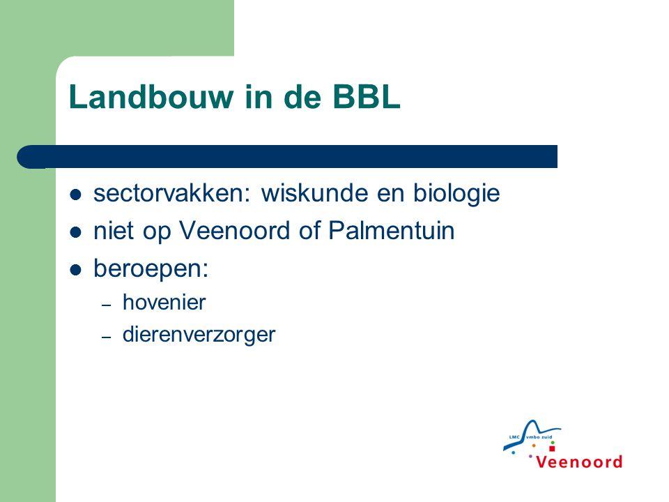 Landbouw in de BBL sectorvakken: wiskunde en biologie niet op Veenoord of Palmentuin beroepen: – hovenier – dierenverzorger