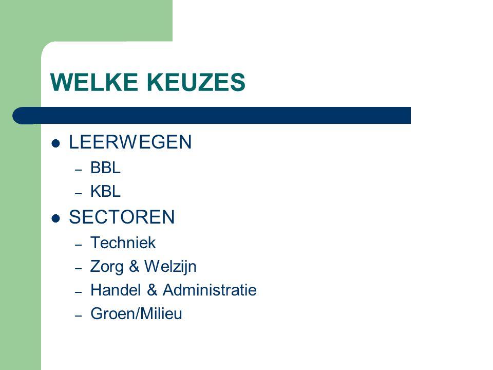 WELKE KEUZES LEERWEGEN – BBL – KBL SECTOREN – Techniek – Zorg & Welzijn – Handel & Administratie – Groen/Milieu