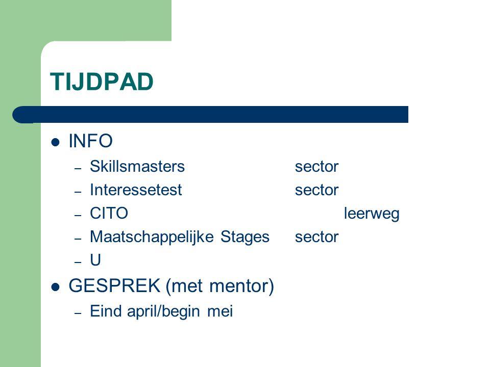 TIJDPAD INFO – Skillsmasterssector – Interessetestsector – CITOleerweg – Maatschappelijke Stagessector – U GESPREK (met mentor) – Eind april/begin mei