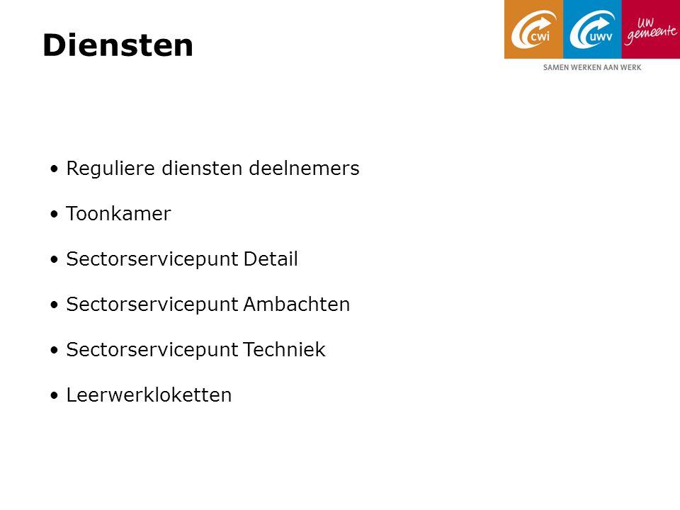 Diensten Reguliere diensten deelnemers Toonkamer Sectorservicepunt Detail Sectorservicepunt Ambachten Sectorservicepunt Techniek Leerwerkloketten